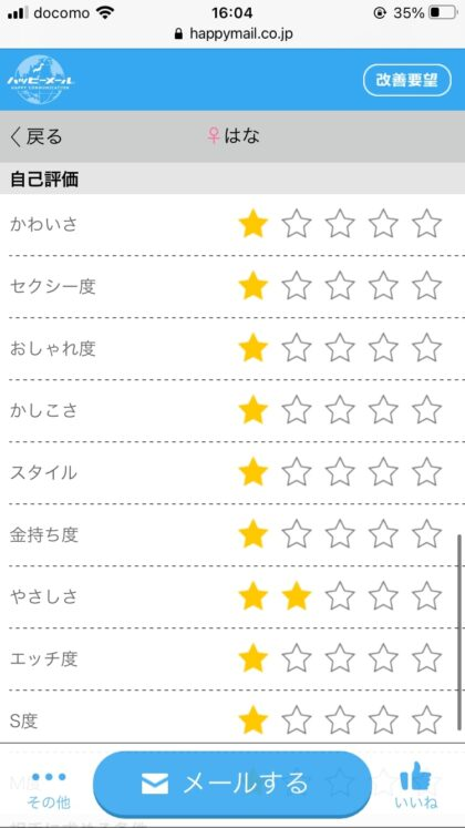 ハッピーメールのメンヘラのプロフィール(星マーク)